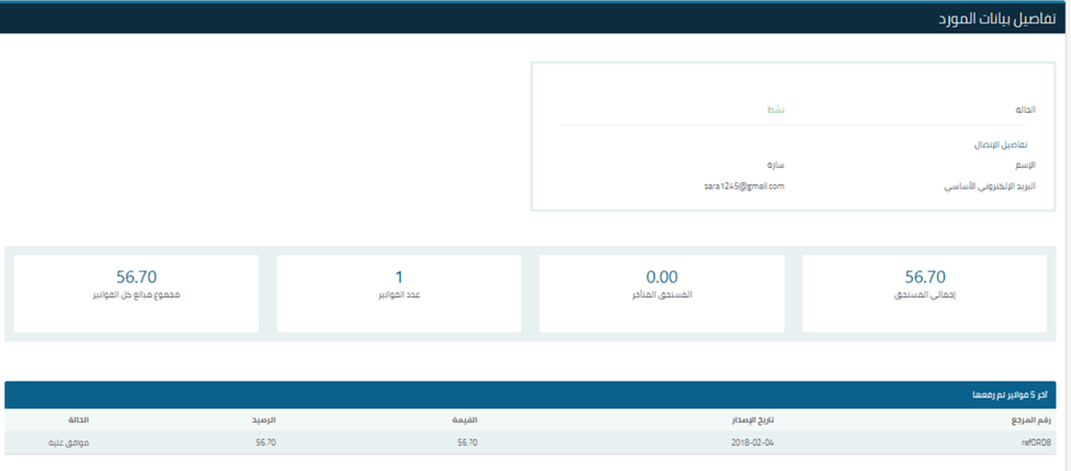 Vendor View Page